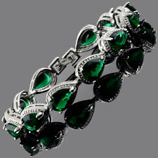 Fashion CZ Pear Cut Green Emerald White Gold Plated Tennis Bracelet