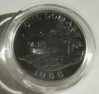 Bermuda 1 Dollar 1988 Eisenbahnwagen Silber BU