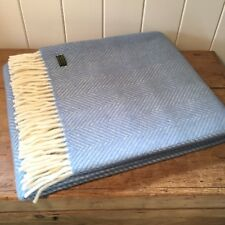 KNEE RUG /SMALL THROW Pure New Wool AQUA BLUE Herringbone Chair Blanket British