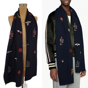 """NEW $695 GUCCI Blue WOOL KNIT Embroidered LOGO SNAKE BEE CAT SKULL 70"""" SCARF NWT"""