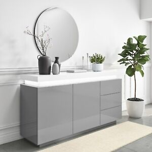 Grey & White Gloss Sideboard with LED Lights - Large - Vivienne
