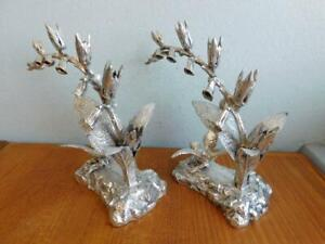 EP Silver Pair Flower & Bird Dining Table Ornaments P. Ashberry & Sons 1900s
