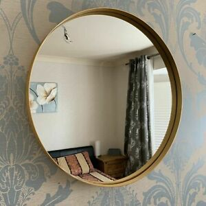 50cm Large round gold wall mirror Brushed Gold Metal Frame Round Wall Mirror New