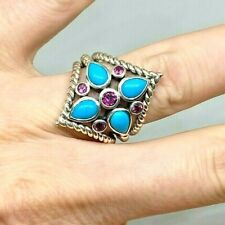 EstateTurquoise & Pink Sapphire Cluster Flower Ring in Sterling Silver 6.75