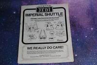 INSTRUCTIONS ~ VINTAGE STAR WARS IMPERIAL SHUTTLE KENNER insert booklet