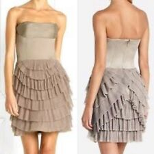 $348 BCBG Maxazria Womens 2 Hazelnut Tulle Layered Tiered Strapless Sheath Dress