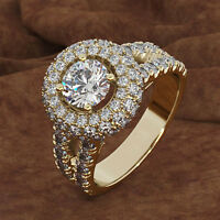 3.50 CT Round Cut Diamond 10K Yellow Gold Bridal Engagement Ring For Women's