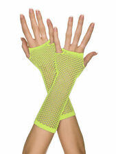 Yellow neon 80s Disco Punk Long Sexy Neon Party Fingerless Fishnet Gloves