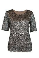 Marks & Spencer M&S Womens Ladies Blush Pink and Black Contrast Lace Top