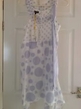 BNWT CHILLI PEPPER Pale Blue Spotted Floaty Dress / Tunic Size M RRP £40.00