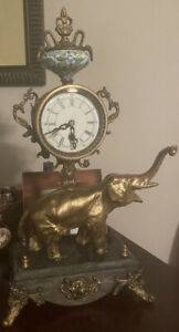 LOUIS XVI STYLE VINTAGE CLOCK Elephant Bronze-brass with Marble base, **RARE**