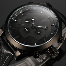 SHARK Military Day Date Analog Steel Sport Leather Men's Quartz Watch Black