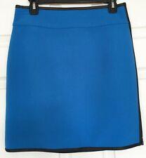 NWT Ann Taylor Scuba Skirt Pencil Straight Black Faux Leather Trim Blue Sz 4