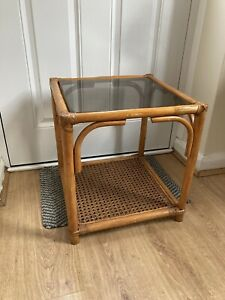 Vintage Square Bohemian Cane Bamboo Rattan Coffee Table Side Table Glass Top