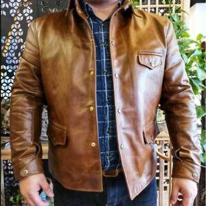 Men's Oil Wax Cowhide Vintage car coat Luxury Cuir Biker Genuine leather Jacket