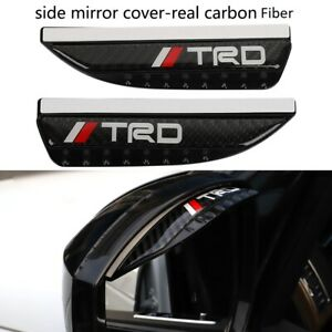 2pc TRD Carbon Fiber Rear View Side Mirror Visor Shade Rain Shield Water Guard