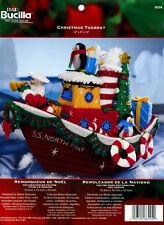 Bucilla Christmas Tugboat ~ Felt Christmas Home Decor Kit #86204 Santa, Penguin