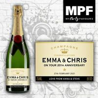 Personalised Anniversary Champagne Bottle Label - 4 Styles Available