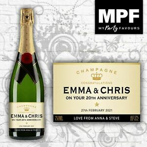 Personalised Wedding Anniversary Champagne Bottle Label - 4 Styles Available