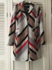 Armani Red Grey Black Taupe Wool Blend Lined Fitted Coat Jacket NWT S UK 10