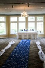 Blue and White Silk Flower Aisle Runner hand made and custom