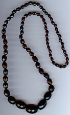 VINTAGE FACETED CHERRY RED AMBER BAKELITE GRADUATING LONG BEAD NECKLACE