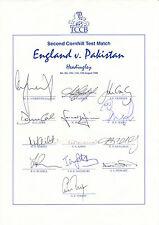 ENGLAND Official CRICKET 1996 Headingley Test v Pakistan SIGNED Team Sheet