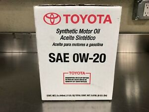 LEXUS/TOYOTA  SYNTHETIC 0W-20 MOTOR OIL PACK OF 6 QUARTS