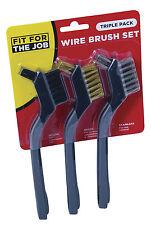 FFJ 3 Piece Soft Grip Mini Wire Brush Set, 1x Brass 1x Nylon 1x Steel (FSAT002)