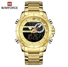 2020 NAVIFORCE 9163 Men Gold Quartz Digital Waterproof Watch Great Gift Idea