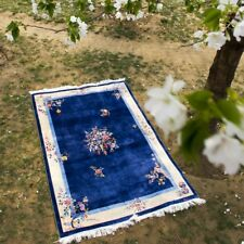YILONG 4'x6' Blue Floral Handmade Silk Rug Chinese Art Deco Classic Carpet Sale