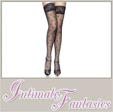 Sexy Black Polka Dot Stockings Size M 8 10 12 14 Lace Top Floral Spotted Hosiery