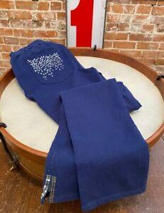 Quacker Factory Navy Blue DreamJeannes Slim Leg Ankle Pants Sequins Detail New