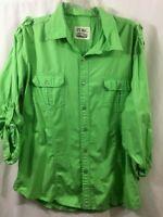 PD&C Men's Green Long Sleeve Shirt size XL cotton Roll Sleeve