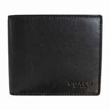Coach F74991 Black Compact ID Mens Wallet in Sport Calf Leather