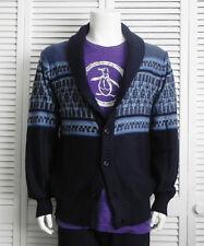 NEW Mens SIZE XXL 2XL ALPACA Navy Blue Shawl Collar Pattern Cardigan Sweater