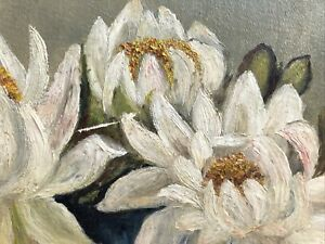 Victorian Antique Floral Oil Painting On Board Water Lilies Gilt Gesso Fab Frame