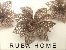 3 Rose Gold Glitter Poinsettia Flowers Wreath Flower Christmas Garland Clip On
