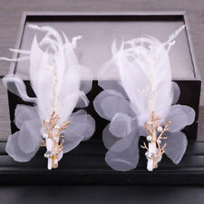 Elegant Korean Style Bridal Hair Accessories Feather Pearl Headdress Flower