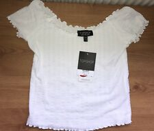 Topshop White Lettuce Frill Bardot Shoulder Crop Top 8 BNWT fitted cropped