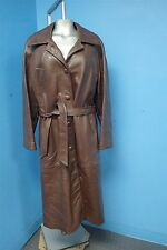 03708 Beautiful Long Brown Genuine Leather Women's Coat Jacket