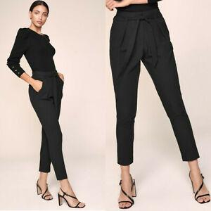 BNWT Women's Lipsy London Black High Waist Tapered Tailored Trousers Size 16 UK