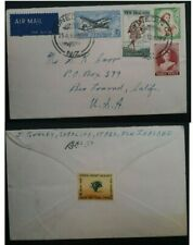 1955 New Zealand Airmail Cover ties 4 stamps cancelled Dunedin to USA