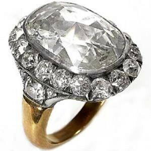 14k Yellow Gold over 925 Sterling Silver White Cushion Halo Vintage Style Ring