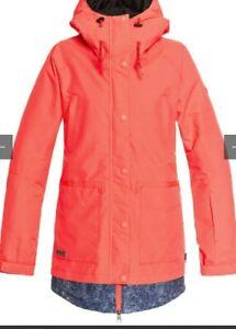 DC Women's Riji Full Zip Snowboard Jacket In Fiery Coral, multi sizes