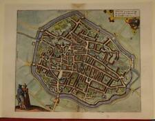 DOUAI FRANCE 1575 BRAUN/HOGENBERG UNUSUAL ANTIQUE ORIGINAL COPPER ENGRAVED VIEW