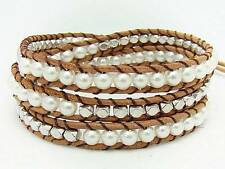 3 Wrap Bracelet 4mm glass PEARL  beads leather  fashion bracelet