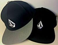 Volcom Mens Hat V Stone Snapback Cap Black - Navy/Heath Grey One Size Skateboard