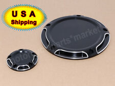 Black Beveled 5 Hole Derby & Timing Timer Cover For Harley Touring Dyna Softail