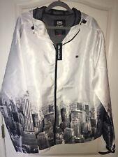NWT ecko unltd White Mens New York Skyline Wind Jacket  2Xlg E0118o108m Reg $64